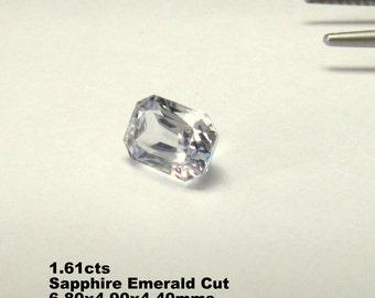 White sapphire Emerald cut,mined in Srilanka.