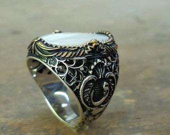 Silver Mens Ring With Mother of Pearl