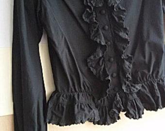 Edwardian Style Black Blouse - Boho Romantic Cotton Ruffle  Blouse - Laces - Size M - Japanese Vintage