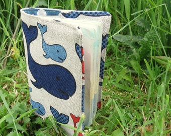 Passport cover.   Passport sleeve.  Whales, a nautical passport cover.