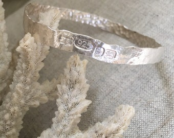 Wide Hammered Bangle - Solid Silver - Hallmarked