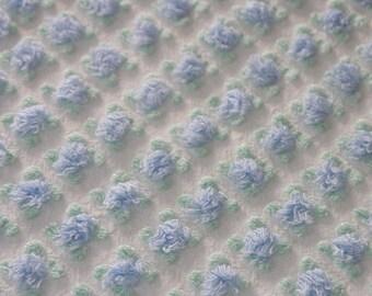"Vintage Chenille Bedspread Fabric Morgan Jones Blue Rosebud on White...12""x18""...6-6"" Squares...(j8)"