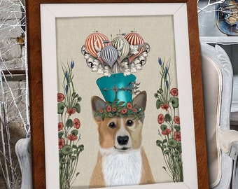 Pembroke Welsh Corgi Print - Milliners Dog - corgi art print corgi poster corgi gift for corgi lover owner Colorful art dog wall art