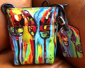 Hand Painted Leather Handbag  - Paintbrush Crossbody purse