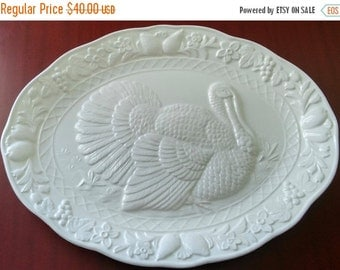 "On Sale Vintage Ceramic Thanksgiving Turkey Platter, Oval w/Raised Turkey and Fruit/Floral Border, 14"" x 18"", Excellent Condition, Made Japa"