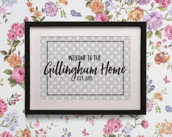 Personalised Welcome to Our Home Print