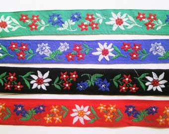 1 m Woven Ribbon Edelweiss and Gentian XL Trim 28 mm w. Dirndl Bavaria Oktoberfest