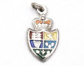ON SALE Canada Royal Coat of Arms Enamel Bracelet Charm Vintage Breadner Sterling Silver