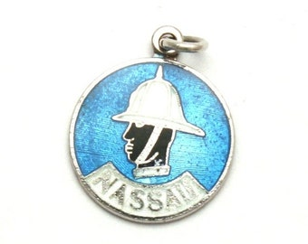 ON SALE Nassau Bahamas Policeman Enamel Bracelet Charm Vintage Breadner Sterling Silver