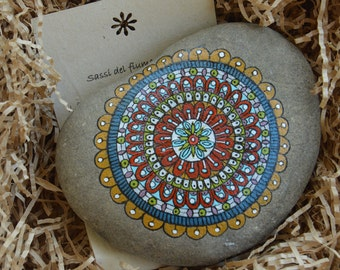 Mandala Red Ocher painted on river stone