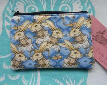 Handmade Coin Purse Makeup Bag White Rabbit Cosmetic Pouch Padded Lined