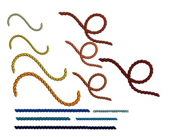 Ropes set machine embroidery design in multiple sizes. Swirl rope machine embroidery design.Straight rope embroidery. Loop rope file.