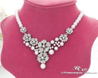 Wedding rhinestone necklace, Bridal pearl necklace, Bridal jewelry, Wedding jewelry, Statement necklace Bib, Wedding accessories 2122