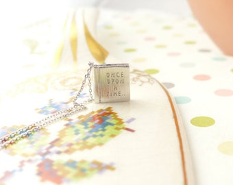 Once upon a time my love stroy book necklace in solid gold 9k, 14k, 18k in yellow, white or rose gold finish
