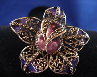 Gorgeous Floral Violet Enamel and Sterling Silver Ring with Marcasites Beautiful!