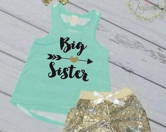 Big Sister Shirt Big Sister Outfit Pregnancy Announcement Big Sister Tank Top Sibling Shirts Big Sister Shirts 037