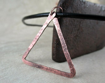 copper necklace, alchemy fire symbol, hammered copper, metalwork, handmade