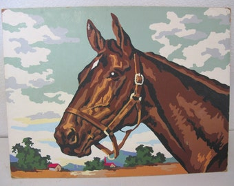 Horse Painting Horse Paint by Number Horse Picture 1960 Mid Century Horse Painting Horse