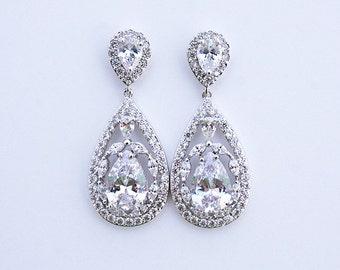 Kacey - CZ Wedding Earrings, Bridal Earrings, Crystal Teardrop Earrings, Cubic Zirconia Earrings, Rhinestone Bridesmaids Gift