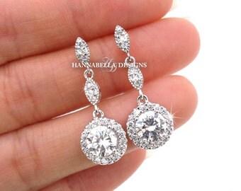 Gigi - Wedding Cubic Zirconia Earrings, Bridal CZ Earrings, Dangle Earrings, Drop Earrings, Vintage Wedding Jewelry, Bridesmaids Earrings