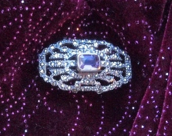 Beautiful Vintage Marcasite and Amethyst Pin