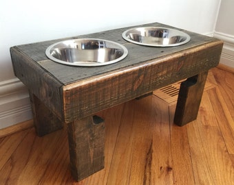 "reclaimed elevated pallet dog bowl stand pet feeding station with 2 brand new stainless steel bowls. 21"" L X 11"" W X 11"" T"