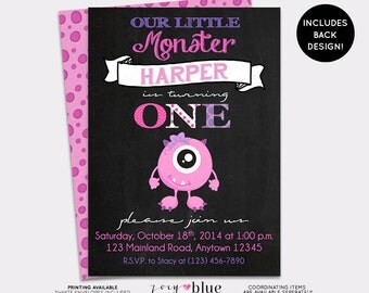 Monster Birthday Invitation Little Monster First Birthday Chalkboard Monster Bash Halloween Pink Girl 1st Birthday Printable Digital File