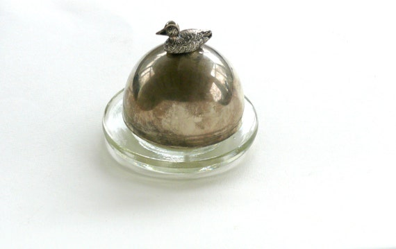 Vintage Butter Dish With Lid Small Round Covered Butterdish