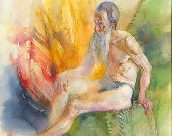 Old Man model painting - male model watercolor original , paper