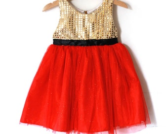 Gold and red Christmas dress for girl, baby dress, tutu dress, toddler dress, Christmas gift for girl