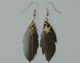 Star Bicycle Tire Feather Earrings - Bike Jewelry