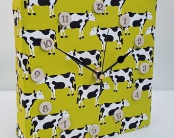 Unique wall Clock - Kitsch Cow Fabric Foam Clock Holstein Friesian