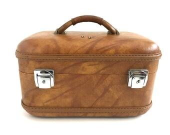 Vintage Train Case Makeup Bag Caramel Brown Large Hard Shell Luggage Carry On Satin Lining