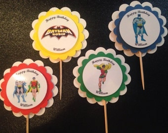 Batman and Robin Party Cupcake Toppers Picks Birthday PERSONALIZED