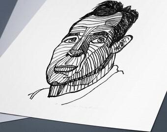 Jack Kerouac Line Drawing Portrait Print