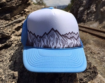 Mountain Trucker Hat - Light Blue & White