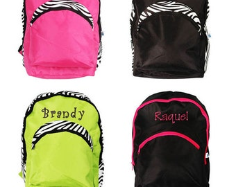 Personalized Kids Girl School Bag Zebra Large Backpack Monogram Name Embroidery
