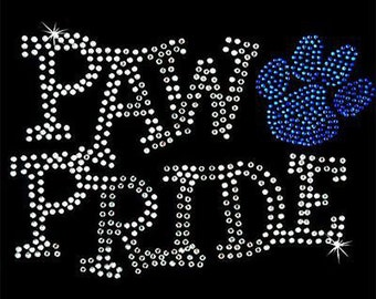Rhinestone Transfer - Hot Fix Motif - Paw Pride - Cobalt Blue