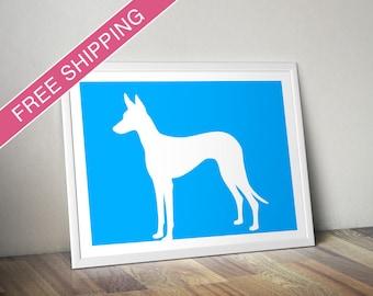 Ibizan Hound Print - Ibizan Hound Silhouette - modern dog home decor, dog gift