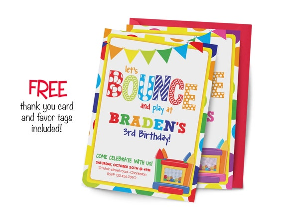 bounce house Birthday Invitation, first birthday party invitation, bounce party, party invitation printable, FREE thank you card