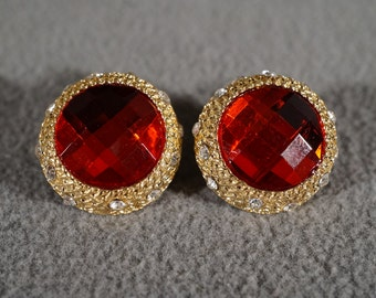 Vintage Traditional Style Faux Red Ruby Round Rhinestones Stud Style Pierced Earrings Jewelry   K
