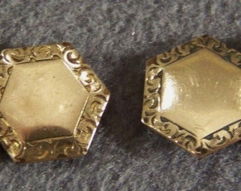Vintage 12 k yellow filled gold etch cuff links W    **RL