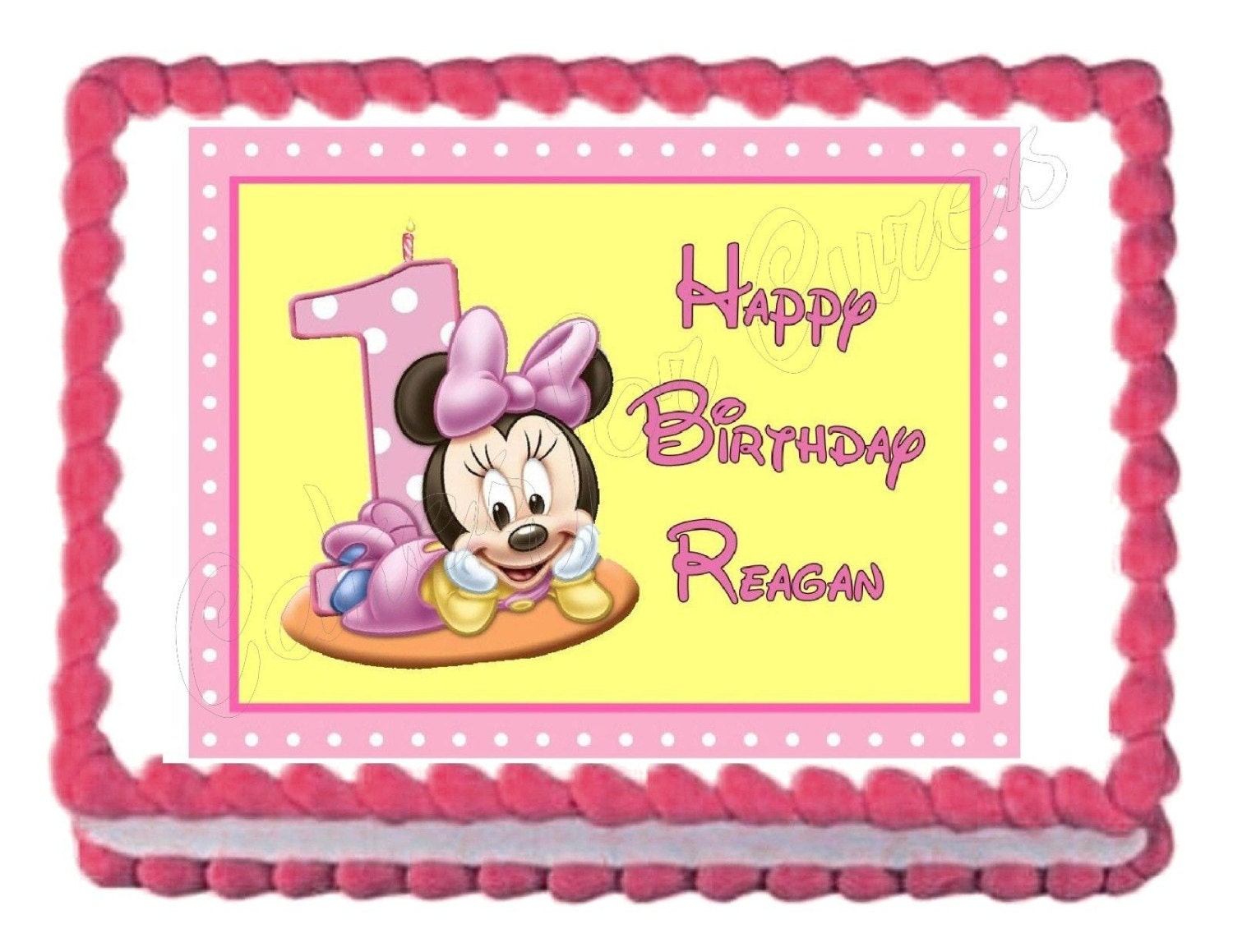 Baby Minnie Mouse first or second birthday edible cake image