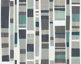 Navy Teal Dark Gray Wood Grain Cotton Fabric - Knock On Wood - Riley Blake Designs - Deena Rutter C5430- NAVY Main - Tree Fabric