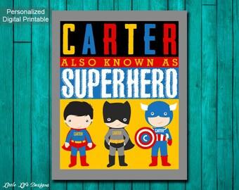 Superhero Room Decor. Superhero Wall Art. Super Hero Party. Superhero Party Decor. Boys Room Decor. Personalized Superhero Sign. Little Boys
