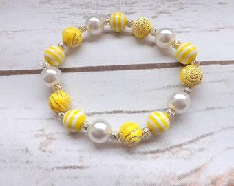 Girls Bracelet yellow and white flower girls gift, Girls jewelry, Bridesmaid bracelet, dress up girls bracelet, UK seller