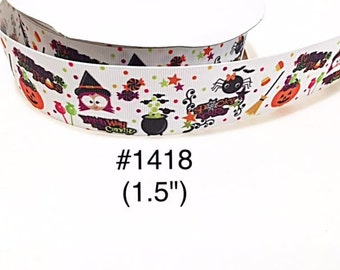 "3 or 5 yard - 1.5"" Halloween Witch, Bat, Spider, Broom and Pumpkin White Grosgrain Ribbon Hair bow"