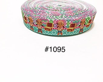 """3 or 5 yard - 1"""" Izzy Pirate Girl with Treasure Chest Grosgrain Ribbon Hair bow"""