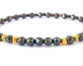 Vermeil 24k gold Karen Hill bracelet, hematite bracelet