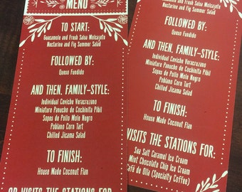 Mexican MENU CARDS, Fiesta Menu Cards for weddings, Corporate Dinners,Bridal Events, and Dinner Parties